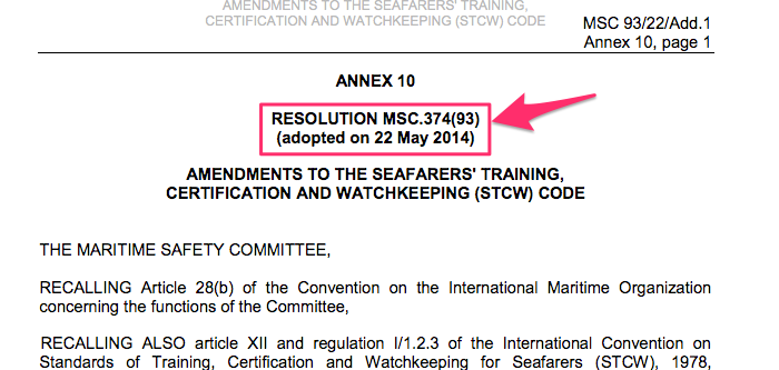 MSC Resolution highlighting the resolution number