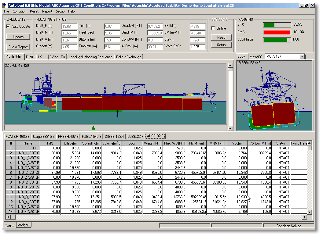 Autoload Tanker loading computer screen