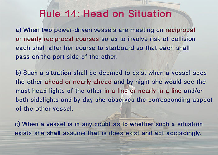 Head on situation Rule 14