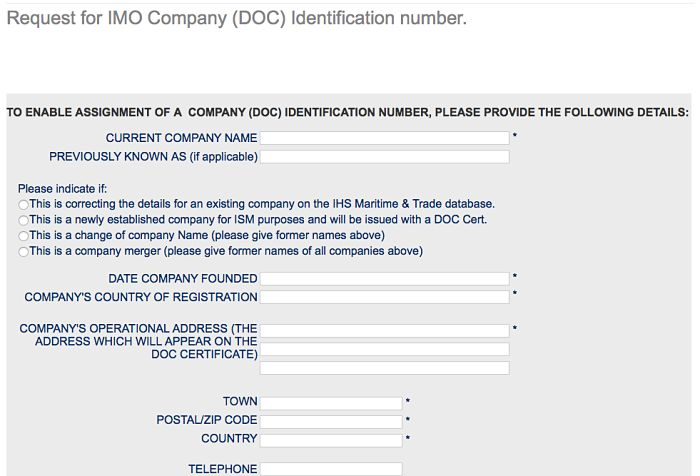 IMO Company number