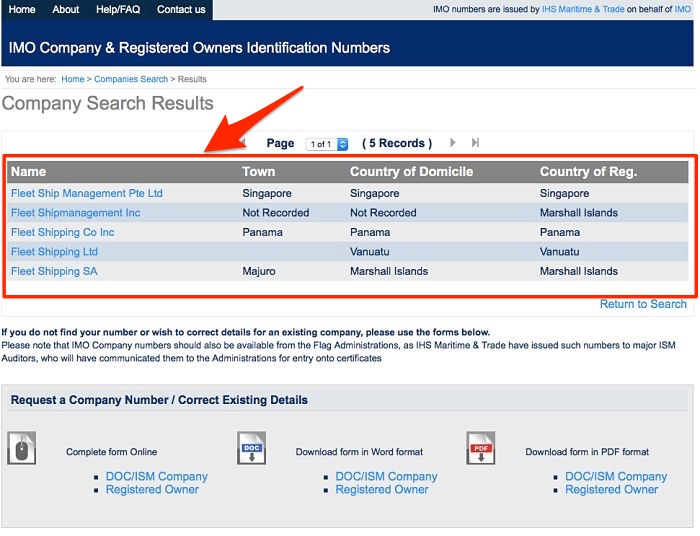 IMO company number search