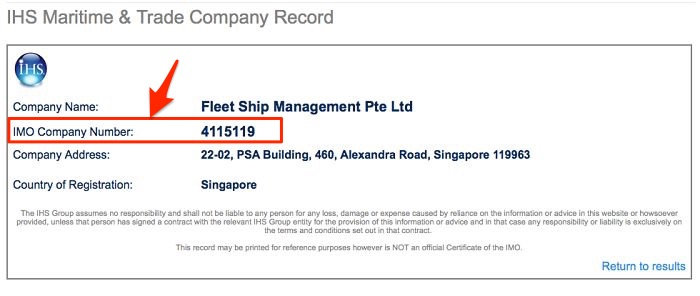 company details with IMO number