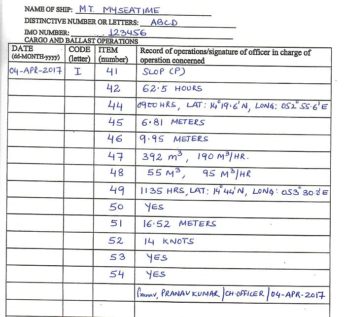 Discharge of water to sea oil record book entry correct