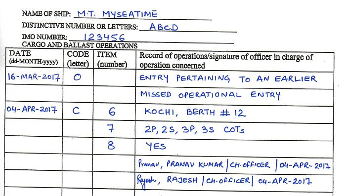Missed operational Entry oil record book