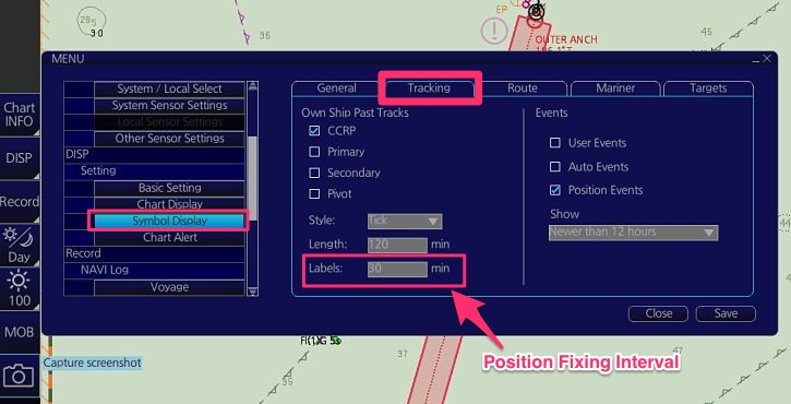Position Fixing interval In ECDIS